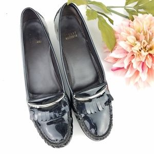 Stuart weitzman black patent leather loafers 9.5